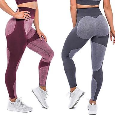 eb55081397 CROSS1946 Fashion Women's Active Yoga Pants Heart Shape Butt Printing Capris  Waistband Fitness Leggings S Grey