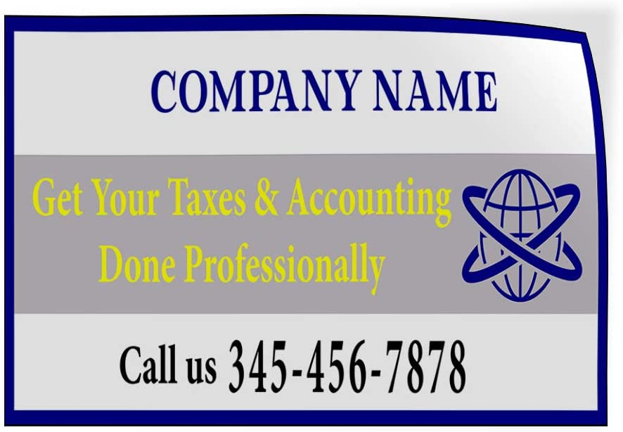 Custom Door Decals Vinyl Stickers Multiple Sizes Company Name Tax and Accounting Number Business Income Tax Outdoor Luggage /& Bumper Stickers for Cars White 60X40Inches 1 Sticker