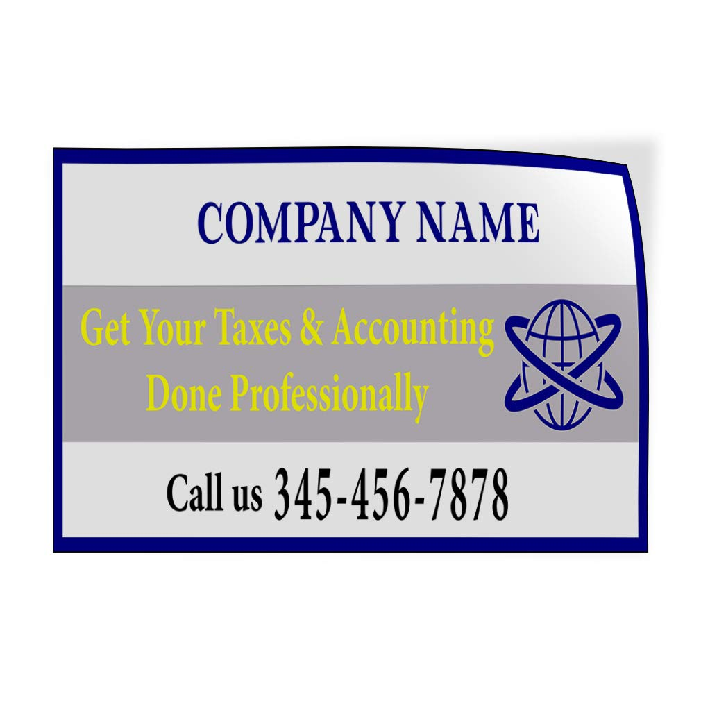 Custom Door Decals Vinyl Stickers Multiple Sizes Company Name Tax and Accounting Number Business Income Tax Outdoor Luggage /& Bumper Stickers for Cars White 27X18Inches Set of 5