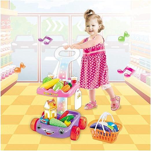 Kid Pretend Play Shopping Cart Fruit Vegetable Toy Children Educational Gift USA