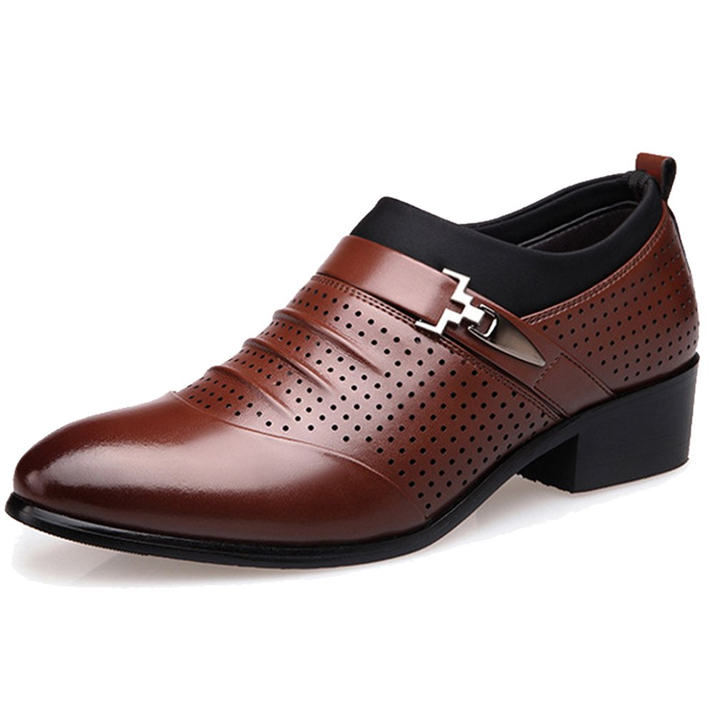Seakee Men's Summer Breathable Slip-on Oxford Pointed-Toe Dress Shoes(Brown) US 8.5