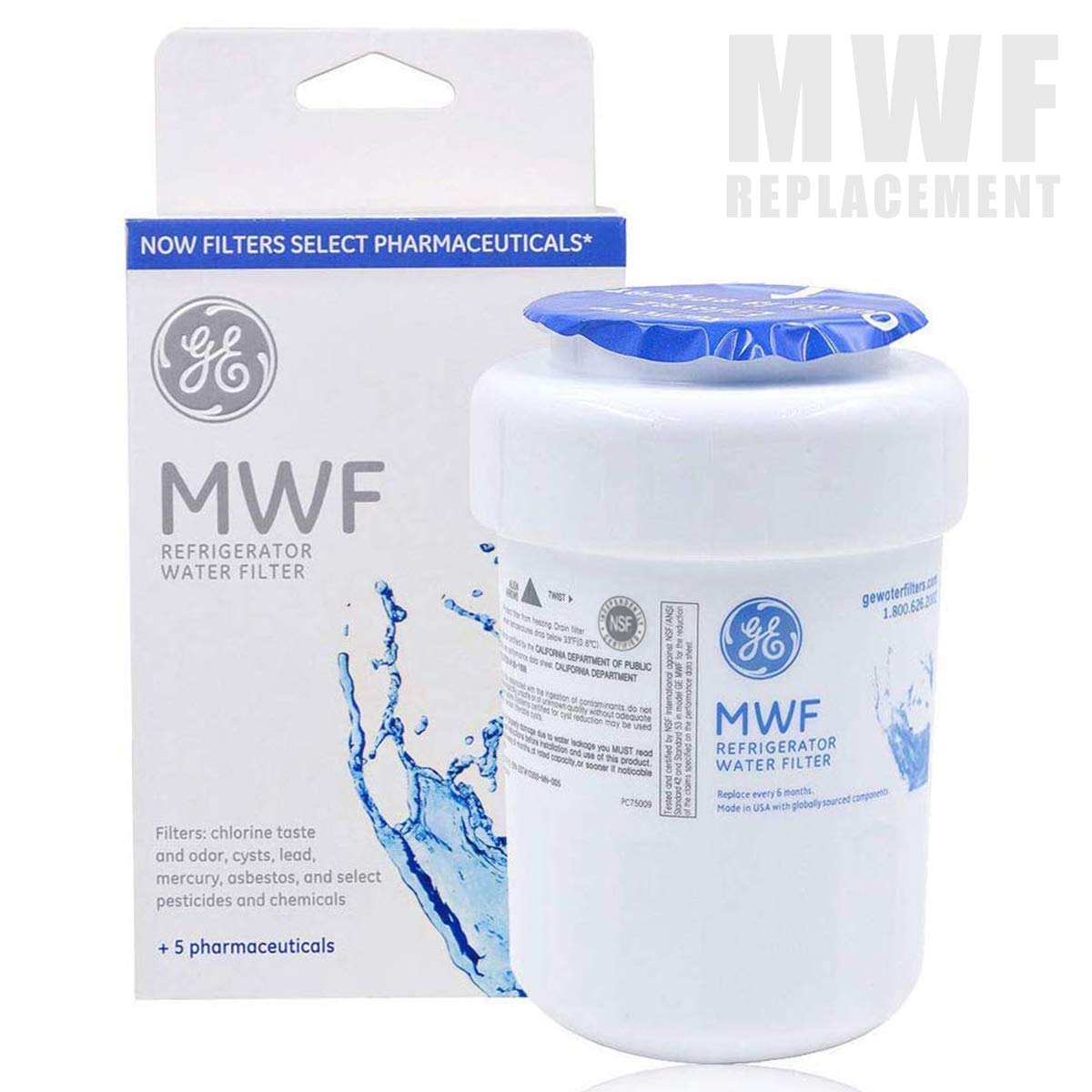 GE MWF Refrigerator Water Filter Cartridge, Replacement for GE Smartwater MWFP, MWFA, GWF, GWFA - 1 Pack