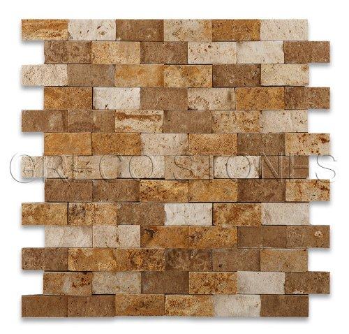 (Mixed Travertine 1 X 2 Brick Mosaic Tile, Split-Faced - 6