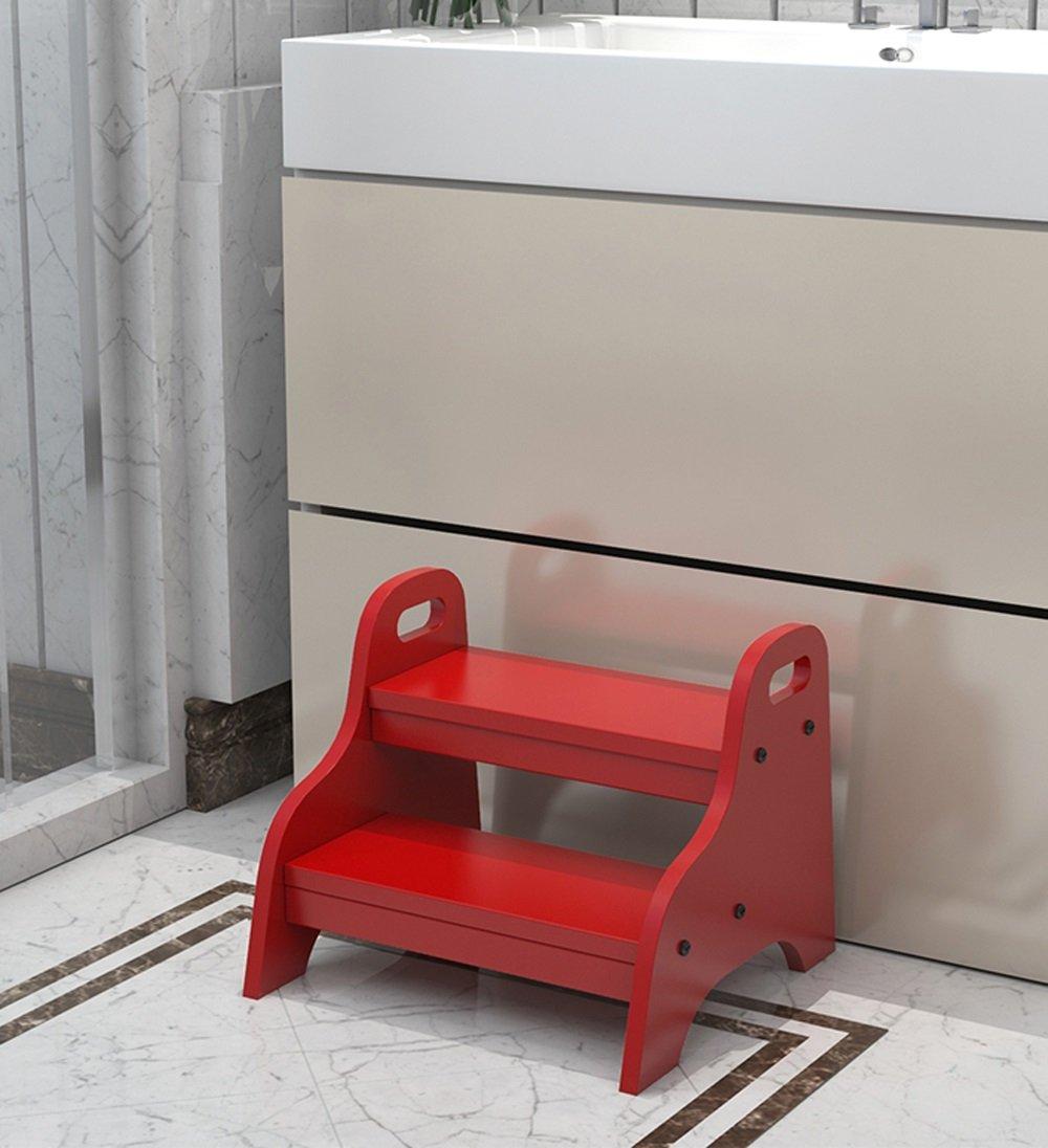 CAIJUN 木材 ステップラダー Steppin スツール 高く登る 手を洗う シューズの交換 トイレ 低便、 4色使用可能 ステップ (色 : 赤) B07DNMKY3N 赤 赤