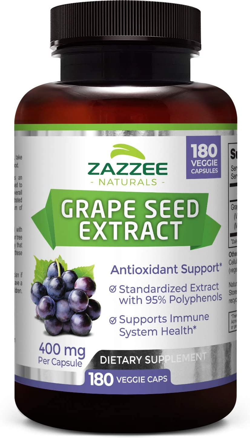 Zazzee Grape Seed Extract 20,000 mg Strength, 180 Vegan Capsules, 95 Polyphenols Proanthocyanidins , Potent 50 1 Extract, 400 mg per Capsule, 6 Month Supply, Non-GMO and All-Natural