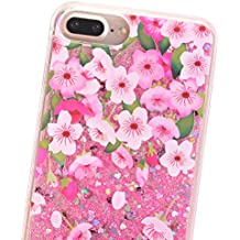 iPhone 7 Plus Case, Wastou Quicksand Floating Luxury Bling Glitter Sparkle Flowing Liquid Protective Case for iPhone 7 Plus (Spring Flower)