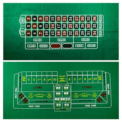 YH Poker Roulette and Craps 両面カジノテーブルフェルトレイアウト。