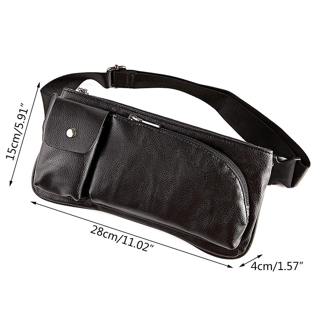 Shoresu Waist Bag Men Chest Bag Waist Fanny Pack Bum Phone Pouch Shoulder Purse Casual Work Black