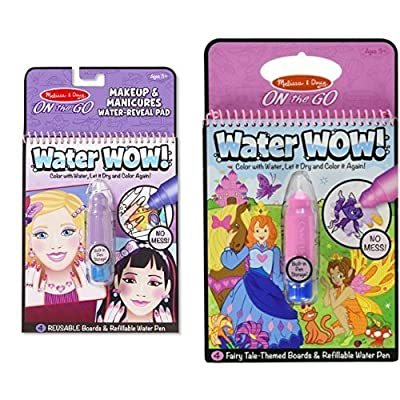 Melissa & Doug On The Go Water Wow! Makeup and Manicures and On The Go Water Wow! Fairy Tale Bundle: Toys & Games