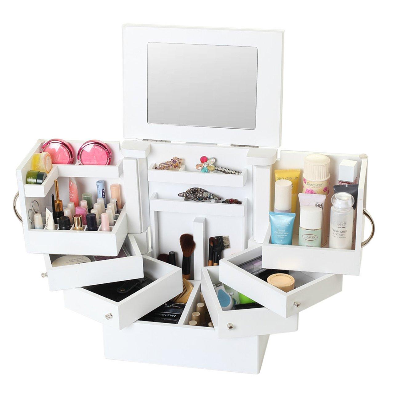 THEE Wood High Capacity Cosmetics Storage Box Jewellery Box Case
