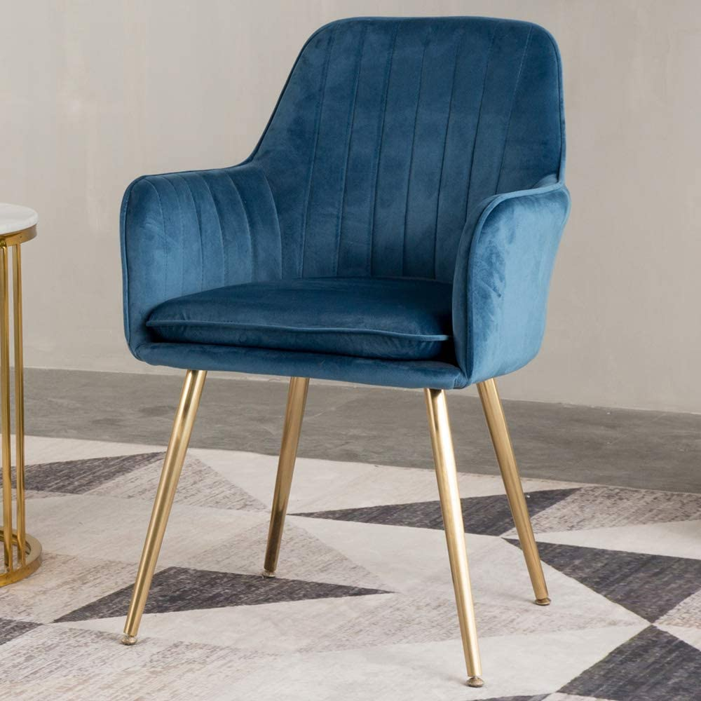 Amazon Com Lansen Furniture Modern Living Dining Room Accent Arm Chairs Club Guest With Gold Metal Legs 1 Blue Kitchen Dining