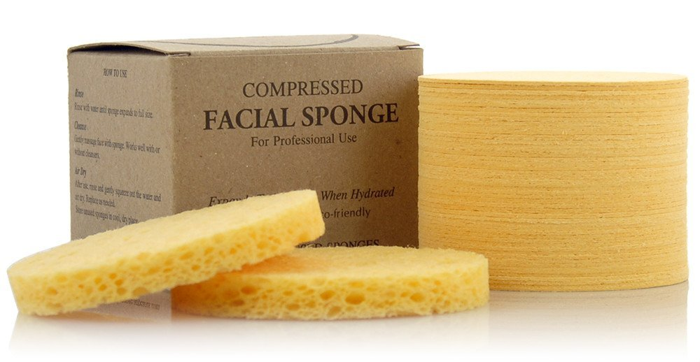 Facial Sponges - APPEARUS Compressed Natural Cellulose Face Sponge | Made in USA | Professional Spa Sponges for Face Cleansing, Massage, Pore Exfoliating, Mask, Makeup Removal (50 Count/Yellow) by Appearus