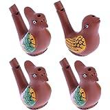 STOBOK 4pcs Pájaro de Agua Creativo Whistle Colored Drawing Warbler Song Chirridos de cerámica Baby Bathtime