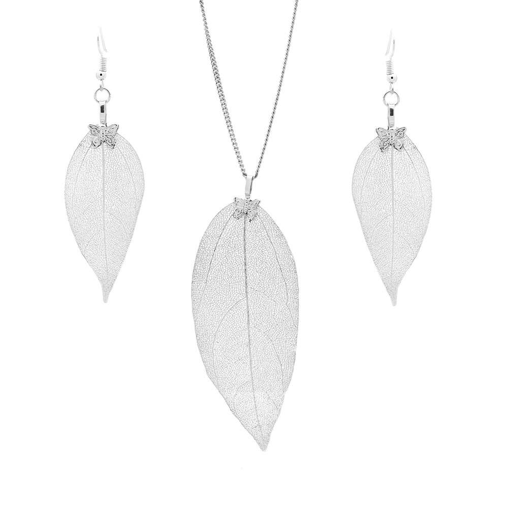 C&L Accessories C&L Real Natural Leaf Earring Necklace Set Heart Nacklace for Women Girls (Silver)