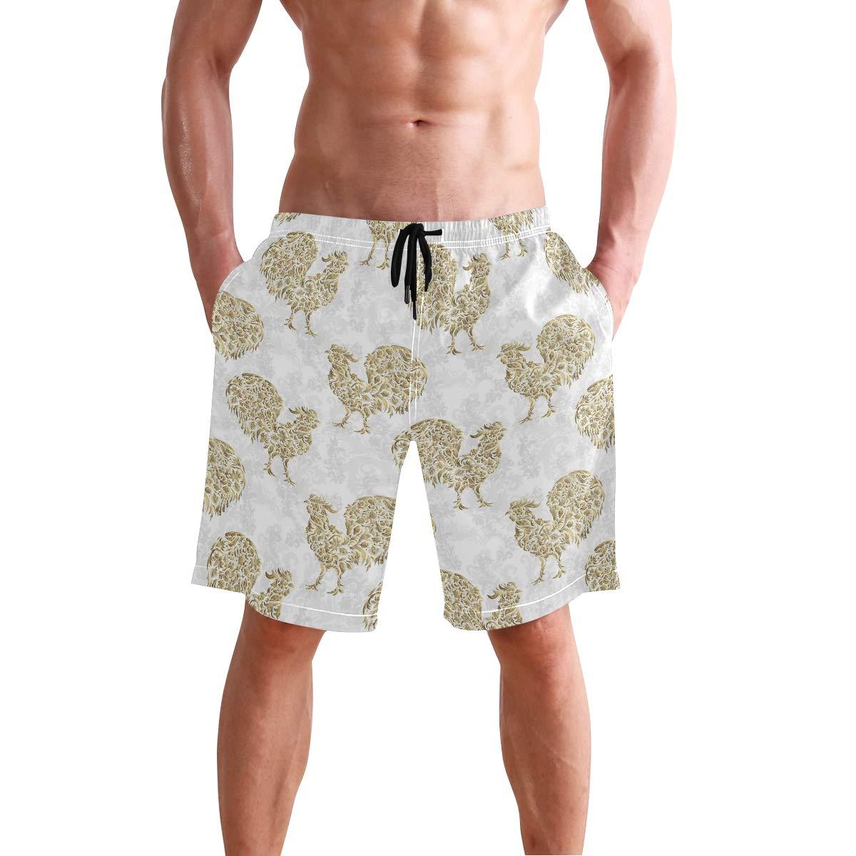 3342297128 Amazon.com: Fuiyi Miyi Men's Swim Trunks Gold Yard Rooster Decor Quick Dry Board  Shorts: Clothing