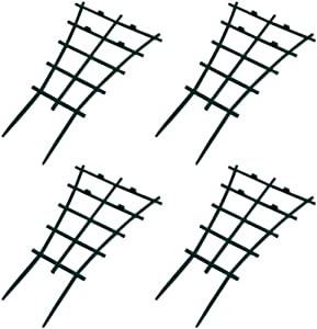 Ibnotuiy 4Pcs Plastic Superimposed Garden DIY Mini Climbing Trellis Flower Supports Courtyard Plant Support Dark Green (4Pcs)