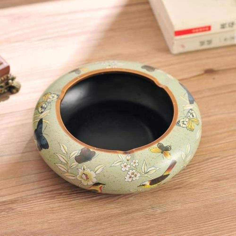 WKHPainted Ceramic Ashtray Simple Round Home Craft Living Room Coffee Table Desktop Decoration,C D
