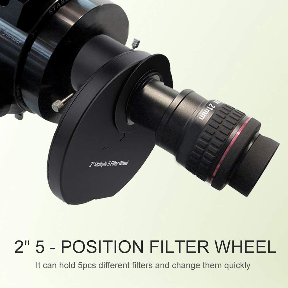 2inch Multiple Filter Wheel,Professional Alloy 5-Position Manual Filters Wheel with Wrench for Telescope Astrophotography Accessory