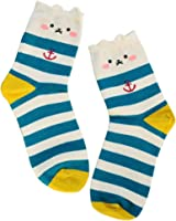 Sankuwen Womens Animals Cat Striped Footprints Floor Socks
