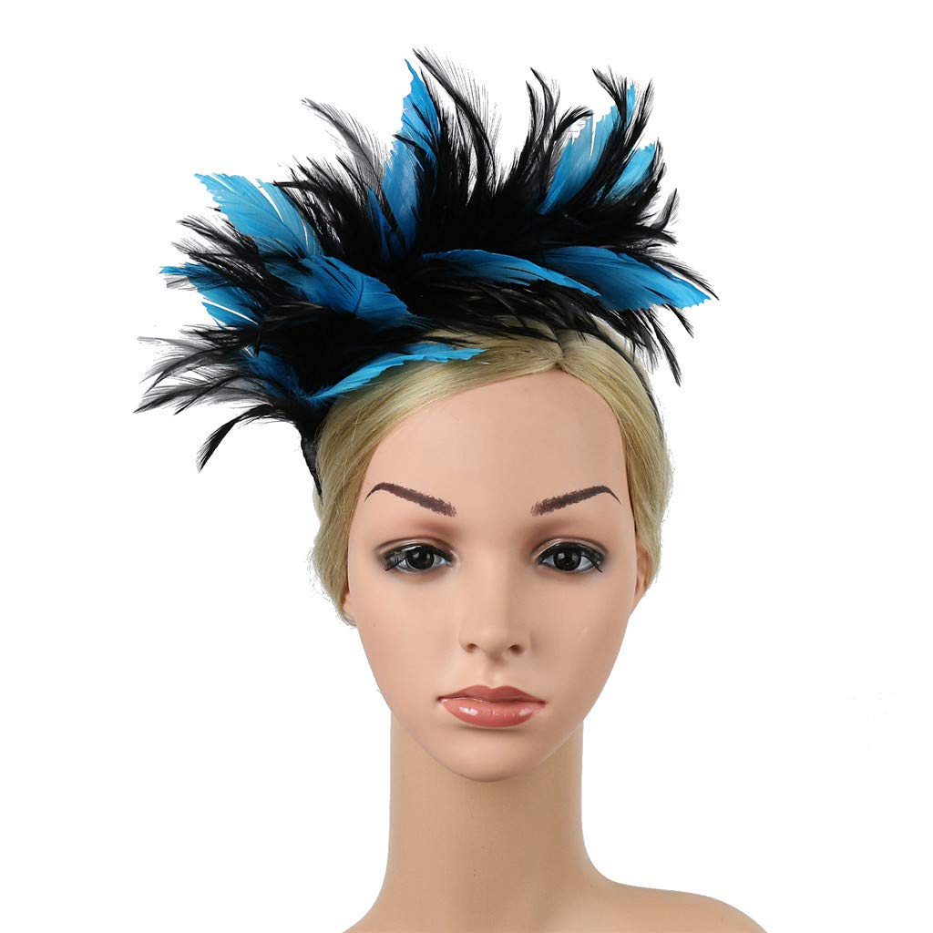 Jeeke Vintage Colorful Headpiece Flapper Ostrich Feather Fancy Headband for Girls Adult Halloween Christmas Party Decorations Hair Accessories