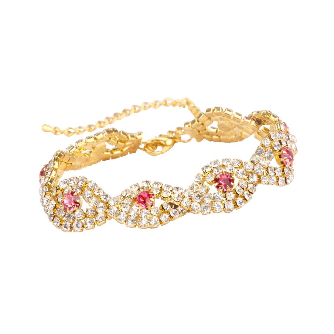 5fb5cde6c34 Amazon.com: YISSION Women's Silver/Gold Plated Crystal Link ...