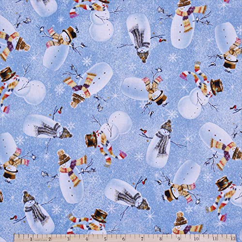 Christmas Woodland Friend Snowman Toss in Blue 100% Premium Cotton Fabric by The Yard (Snowman Christmas Cotton Fabric)