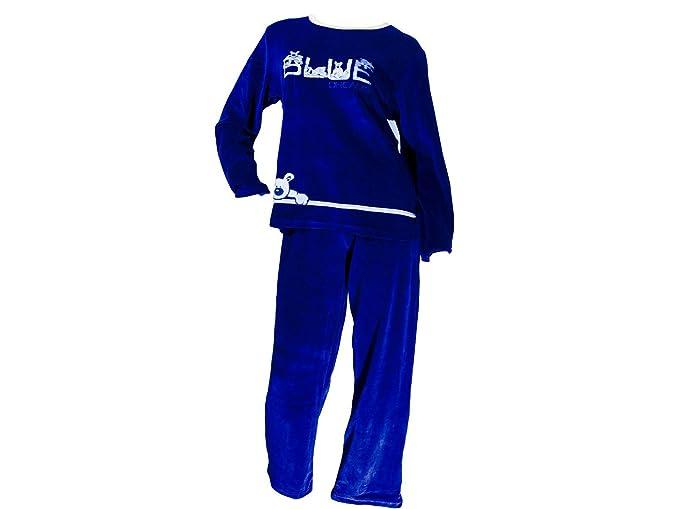 Pijama tundosado (terciopelo) manga larga Mujer A-C - XL, Azul marino