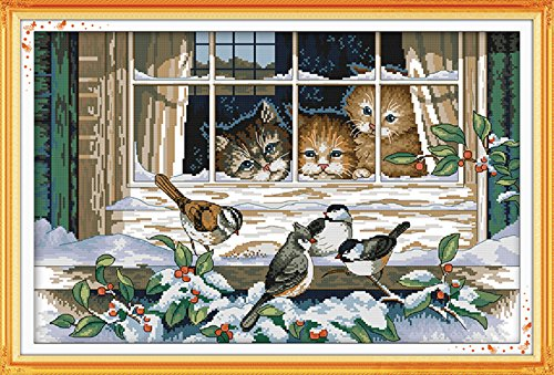 YEESAM ART New Cross Stitch Kits Advanced Patterns for Beginners Kids Adults - Landscape Window Cat 11 CT Stamped 69×47 cm - DIY Needlework Wedding Christmas Gifts - Graduation Cross Stitch Patterns