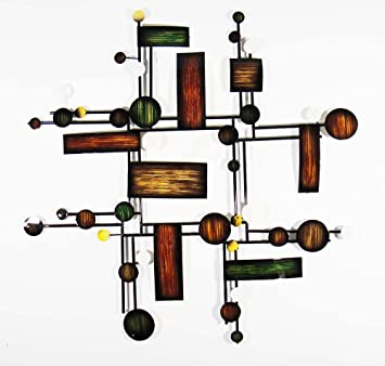 New   Contemporary Metal Wall Art Decor Sculpture   Abstract Map Grid