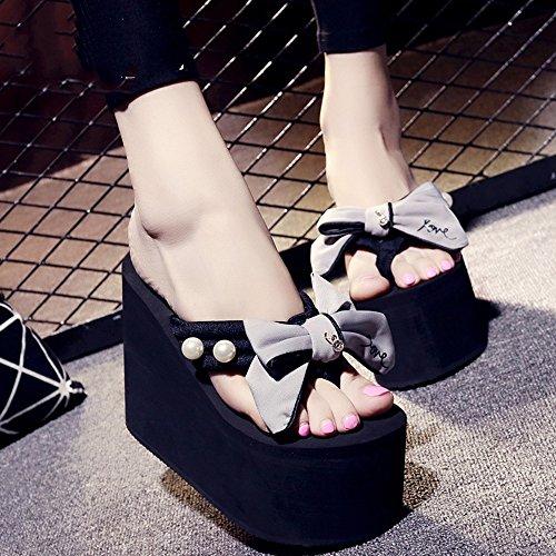 De Verano Femenino Alto Negro Zapatillas MEIDUO cómodo Gris sandalias De Tacón Azul Chanclas Rosa Gris 12cm xqTzCwx8