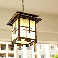 JIANAND Bronze Waterproof Lantern Suspended Chandelier Metal Glass Outdoor Ceiling Hanging Light E27 External Pendant…