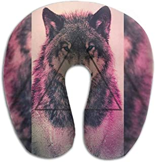 Bikofhd Neck Pillow Wolf Drawing Travel U-Shaped Pillow Soft Memory Neck Support for Train Airplane Sleeping Multicolor3