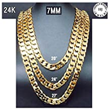 Gold Chain Cuban Necklace 7MM Miami Link w/ real solid clasp 24K USA Patented w/ Signed Warranty No Fade
