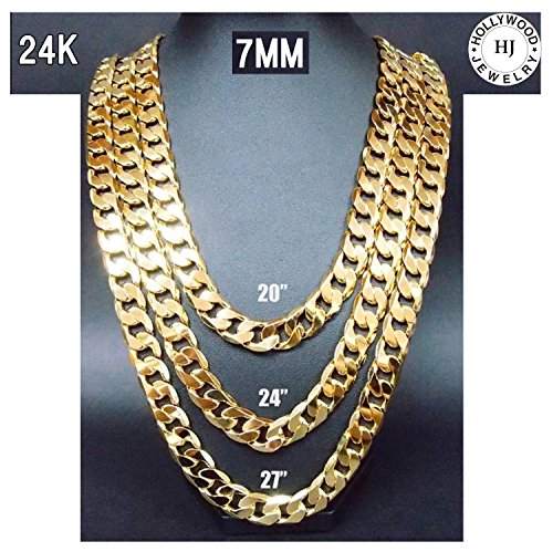 Gold-Chain-Cuban-Necklace-7MM-Miami-Link-w-real-solid-clasp-24K-USA-Patented-w-Signed-Warranty-No-Fade