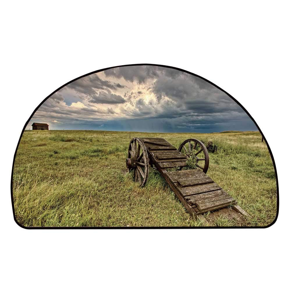 C COABALLA Barn Wood Wagon Wheel Comfortable Semicircle Mat,Old Prairie Cart Agricultural Field Ranch Dramatic Stormy Sky for Living Room,11.8'' H x 23.6'' L
