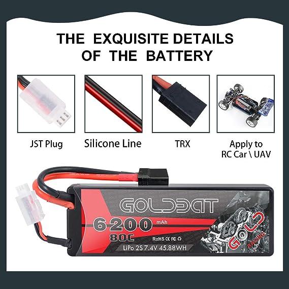 GOLDBAT 2S LiPo RC Battery 7.4 V 80C 6200 mAh RC Battery Hard ...