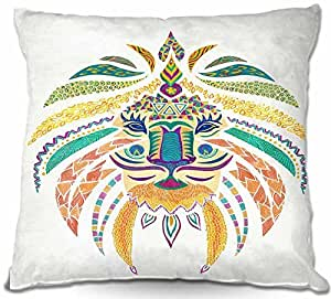 """DiaNoche Designs pillowWOV-LINpomgraphicwhimslion1 Outdoor Patio Couch Throw Pillows, 16"""" x 16"""""""
