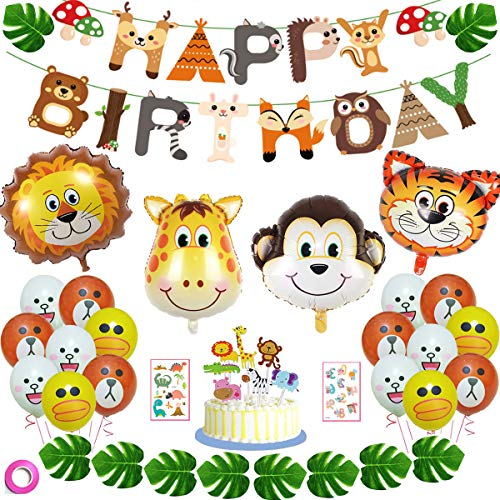 Jungle Animal Party Supplies Safari Party Decorations - Jumbo Animal Balloons+Latex Print Balloon +Birthday Banner+ Cake Toppers +Animal Tatoo Stickers+Artificial Palm Leaves ()