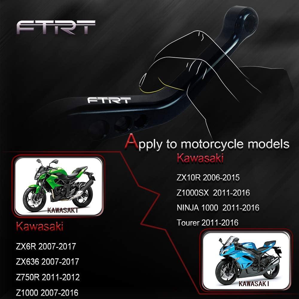 Black Z1000 2007-2016,Z1000SX//NINJA 1000//Tourer 2011-2016 Z750R 2011-2012 FTRT Short Brake Clutch Levers for Kawasaki ZX6R//636 2007-2017,ZX10R 2006-2015
