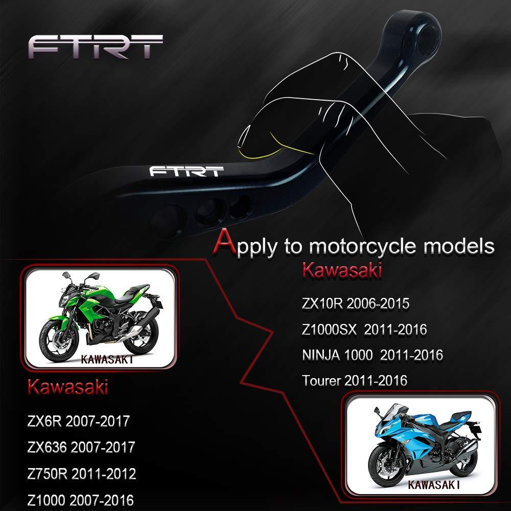 FTRT Short Brake Clutch Levers for Kawasaki ZX6R/636 2007-2017,ZX10R 2006-2015, Z1000 2007-2016,Z1000SX/NINJA 1000/Tourer 2011-2016 Z750R 2011-2012, ...