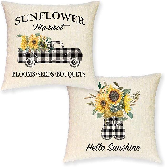JYNHOOR Set of 2 Farmhouse Sunflower Pillow Covers –18x18 Inch Buffalo Plaid Truck Sunflower Pillow Covers for Summer Home Decor-Fall Decorative Pillowcase