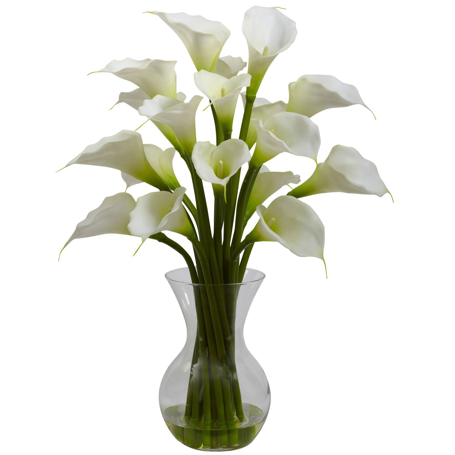 Nearly Natural Home Indoor Decorative Tabletop Galla Calla Lily With Vase Arrangement Cream by Nearly Natural