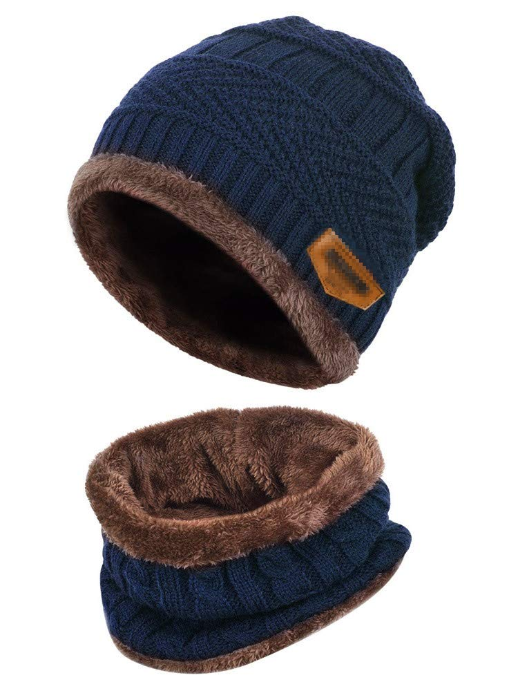 Aisprts Winter Beanie Hat Scarf Set Warm Knit Hat Thick Knit Skull Cap Outdoor Sports Hat Sets Men Women