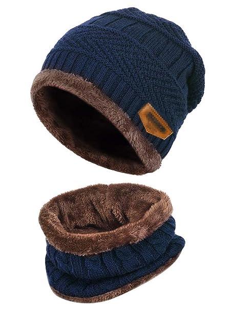 Aisprts Gorro Invierno con Bufanda, Calentar Sombreros Gorras Beanie de Punto Para Hombre Mujer (