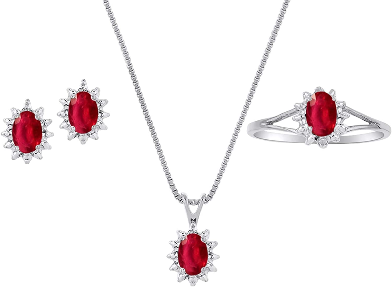 Juego de pendientes, pendientes y anillo de rubí rojo natural en plata de ley 925 con cadena y caja de regalo