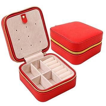 Amazoncom HOYOFO PU Leather Small Travel Jewelry Organizer BoxRed