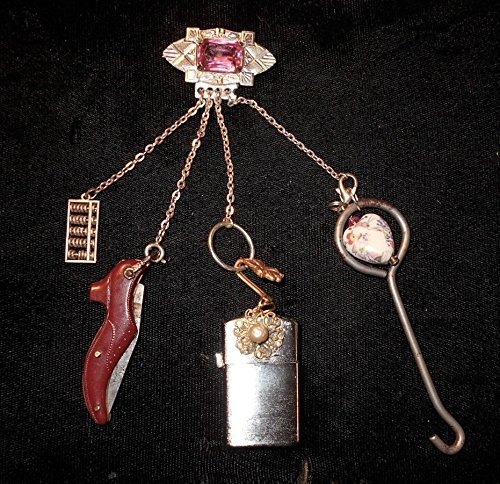 CHATELAINE Victorian Lady's Celluloid Shoe Pocket KNIFE, Rhodium Pink Brooch, Sterling Mini Abacus, Button Hook, Heart, Vintage NOS Lighter. (Victorian Chatelaine)