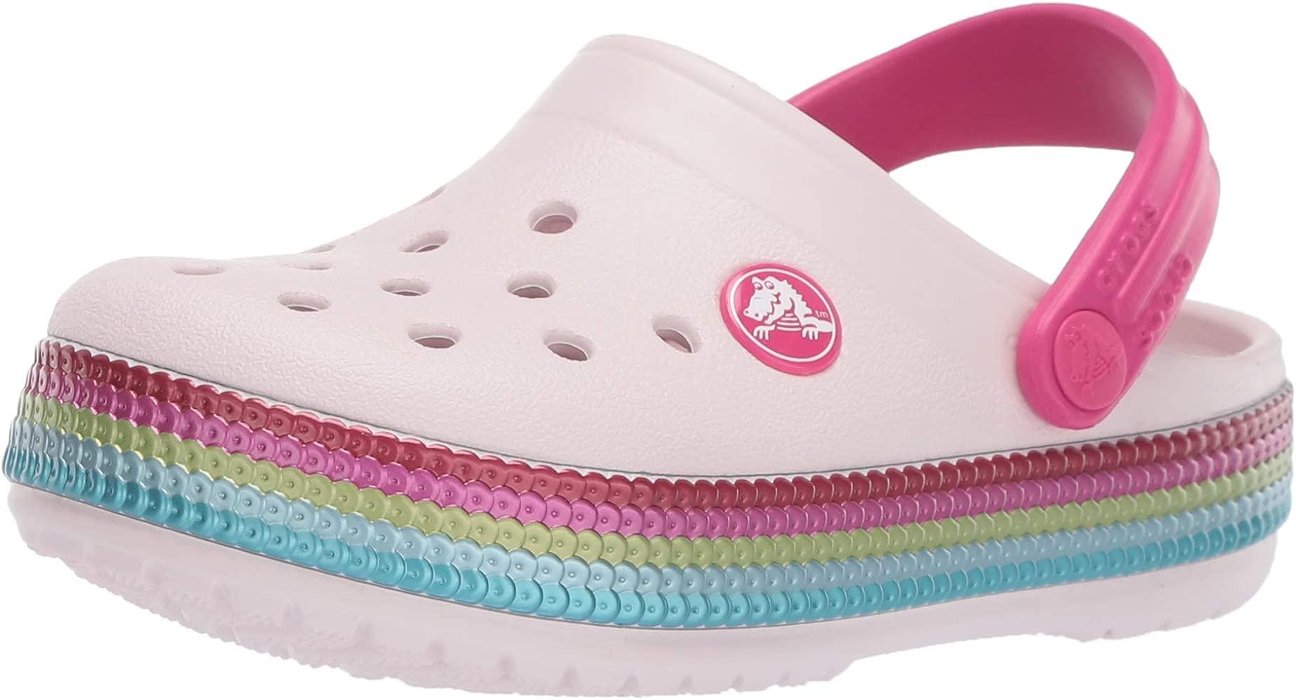 Barely Pink Crocs Crocband Sequin Band Kids Clog