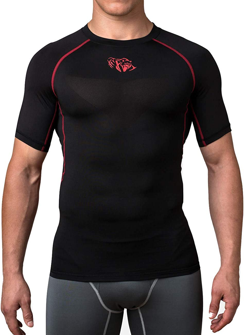 Mens Sports T-shirt Compression Workout Tops Tight Cycling Short Sleeve Gym Tees