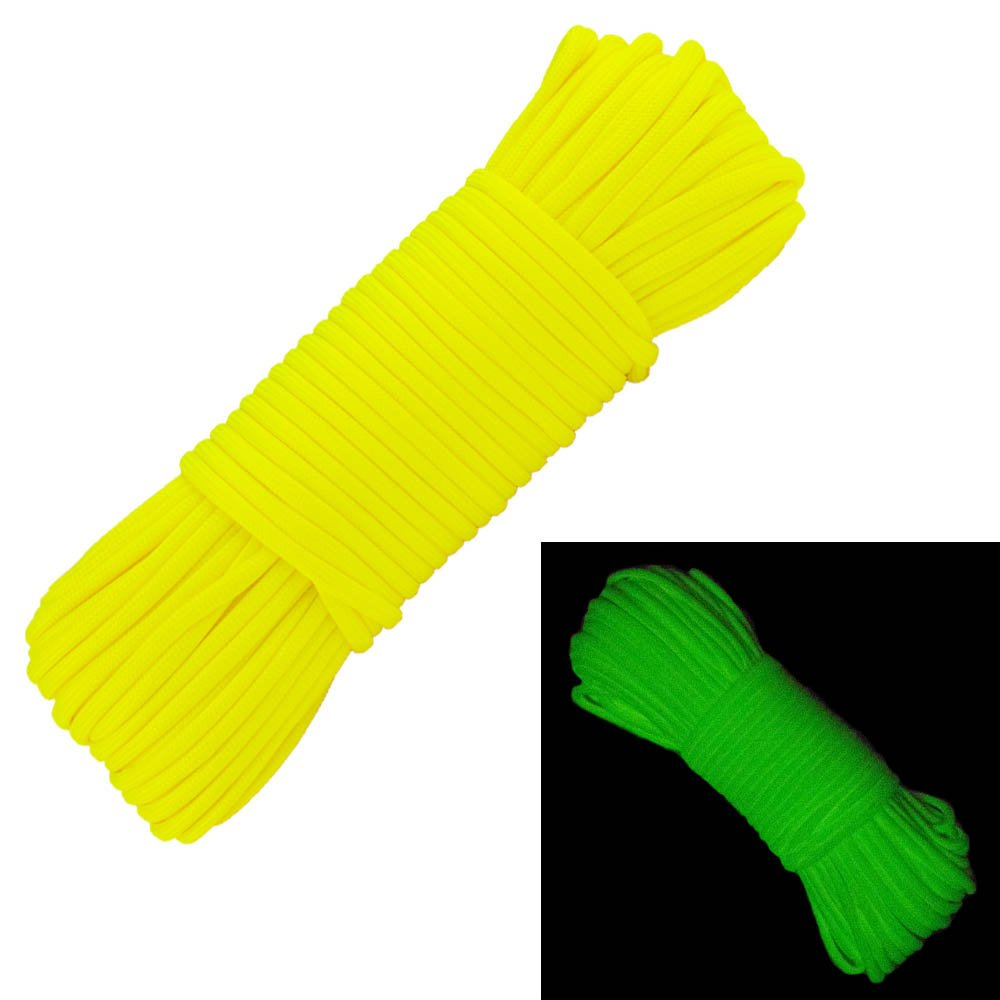 Several Colors 7 Strand Type III West Coast Paracord Glow in The Dark 550 100/% Nylon Paracord 50 or 100 Feet Lengths of 10 25